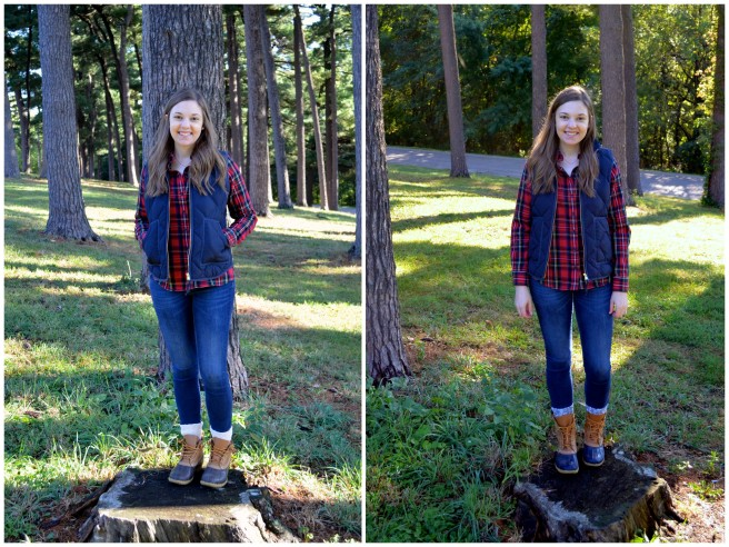 Vest, Plaid Flannel, Bean Boots