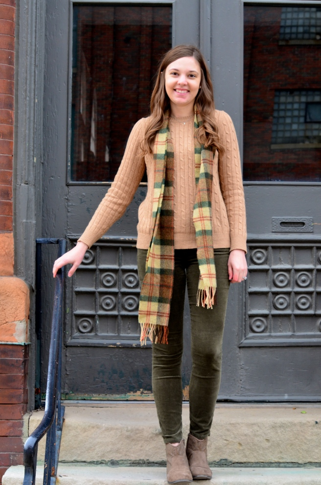 Green Cords, Tan Sweater, Ankle Boots, Plaid Scarf_1506
