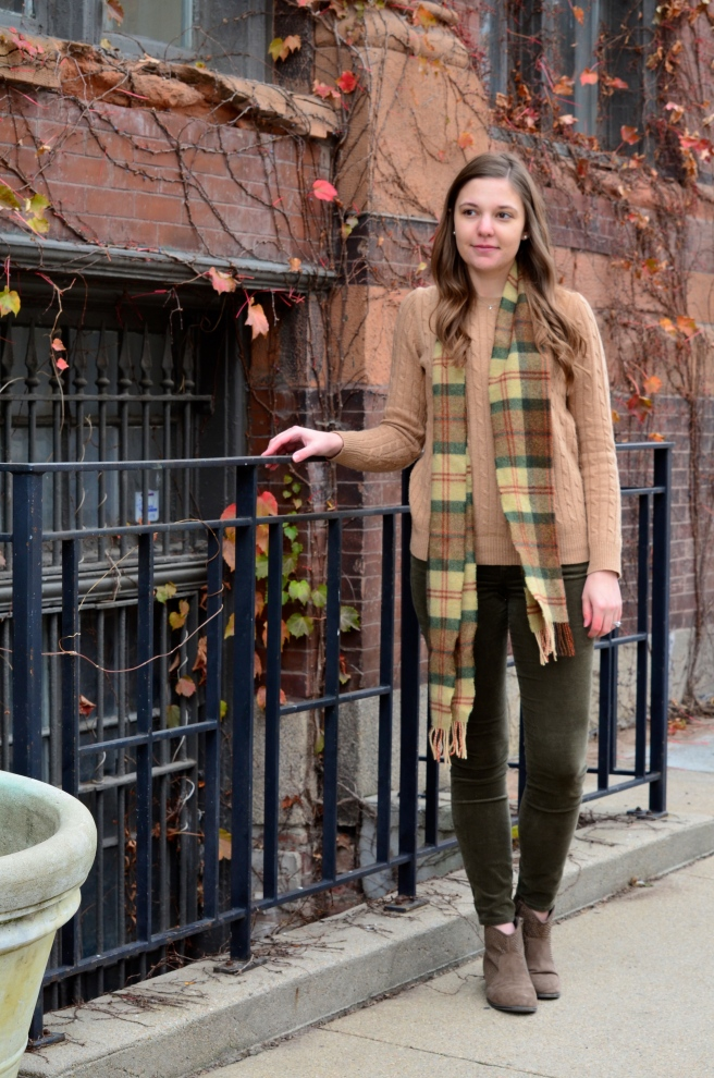Green Cords, Tan Sweater, Ankle Boots, Plaid Scarf_1510