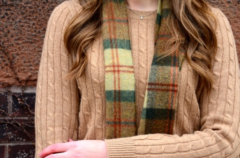 Green Cords, Tan Sweater, Ankle Boots, Plaid Scarf_1512