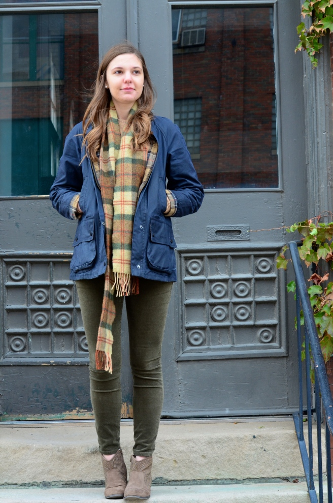 Green Cords, Tan Sweater, Ankle Boots, Plaid Scarf_1514.jpg