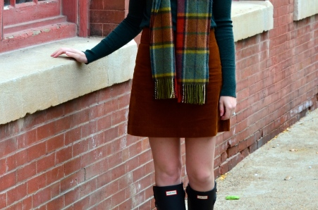 Green Turtleneck, Corduroy Skirt, Hunter Boots_1500 - Version 2