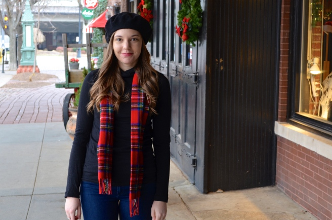 Beret and Stewart Plaid Scarf_1742
