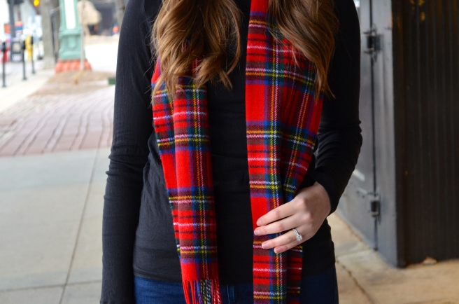 Beret and Stewart Plaid Scarf_1747