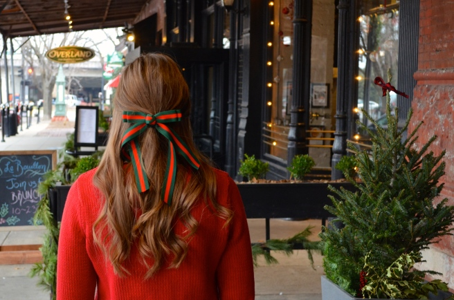 Red Sweater & Christmas Hair Ribbon