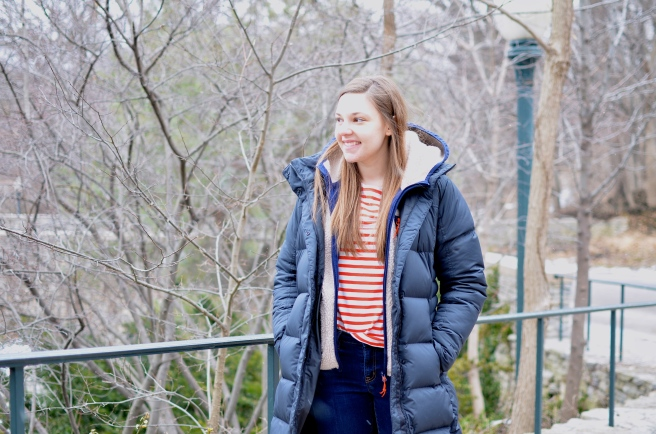 Patagonia Winter Coat, Striped Shirt